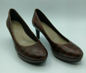 Rockport Women's Brown Croc Print Slip On Heels Pumps Size 6