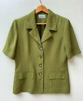 KATIES women's 80s green short sleeve safari suit jacket top sz 12 Aust. made
