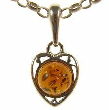 GIFT BOXED BALTIC AMBER STERLING SILVER 925 LOVE HEART PENDANT JEWELLERY JEWELRY