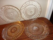 "VINTAGE SET OF 4 CLEAR GLASS SALAD DESERT PLATES 7 1/4"" MADE IN USA"