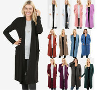 Women's Midi Cardigan Sweater Solid Colors Open Front Long Sleeve Soft Knit