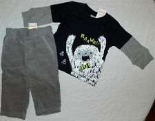 Pant Set Gray Gymboree 2pc Cord Faux Layer Top Fall Winter Boy size 6-12 mo New