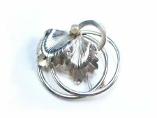 Imitation Pearl Leaves Concentric Circles Forstner Vintage Sterling Silver Pin