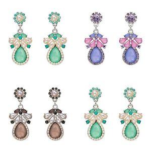 Dangle Earrings Jewel Drop Green Purple Grey Ladies High Fashion Party Earrings