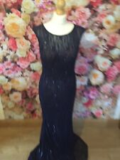Gino Cerruti Long Midnight Blue Lace Sequin Detail Prom Gown Evening Dress UK 8