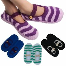 4 Pairs Women's Mary Jane Slipper Socks Fuzzy Non-Skid Assorted Colors One Size