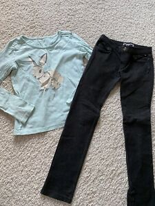 Gymboree black soft skinny jeans jeggings pants All sruced up Bunny Top tee 10