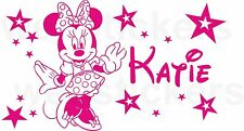 Personalised Minnie Mouse with stars Girls  Wall Art Decal Sticker Any Name