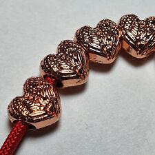 Großlochperlen 10 x Herz Farbe Rosegold Metallperlen für Paracord Beads Heart