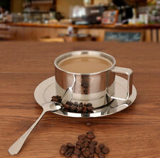 Double Wall Stainless Steel Drinking Coffee Cup Set Espresso Cup Mug &Spoon&Sauc