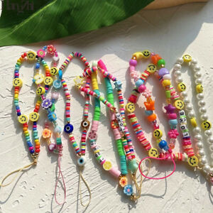 Mobile Phone Straps Smiling Beads Chain Soft Pottery Rope Cell Phone Lanyard