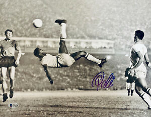 Pele Signed 11x14 Photo Scissor Soccer Kick  - Autographed BAS Beckett COA