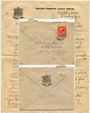 Gb 1917 George King Interesting Letter Eastern Command Labour C. to Egypt Eef