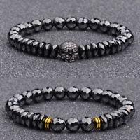 Luxury Natural Black Cut Stone Skull Bead Ghost Head Men's Bracelets Jewelry New