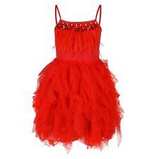 Premium Flower Girl Boutique Dress Girls Scarlet Red Feathers Gem Ruffles Dress