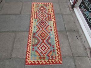 Vintage Kilim Traditional Hand Made Oriental Red Wool Kilim Runner 188x66cm