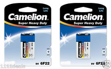 2 Heavy Duty 9v 9 Volt Batteries By Camelion