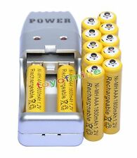 12 AAA 3A 1.2V Ni-MH 1800mAh Rechargeable Battery For Flash Light+ USB Charger