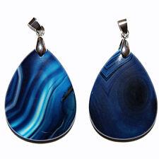 Blue Onyx Banded Teardrop Stone Pendant 30X40X7Mm With Bail Pendants Pen21