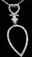 14k White Gold Diamond Pear Shaped Pendant with Chain