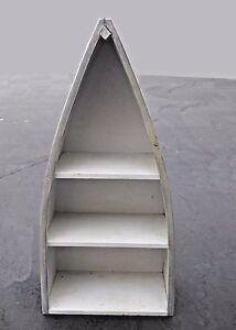 Nautical Style Three Tier Gray Row Boat Bookcase Book Shelf