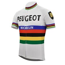 Radtrikot Peugeot Retro weiß, kurzarm L, vintage cycle jersey Größe L Trikot