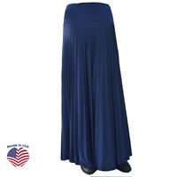 NAVY Hayaa Pleated Long Maxi Skirt Pearly Sheen Foldable Waist XS S M L XL 2X 3X