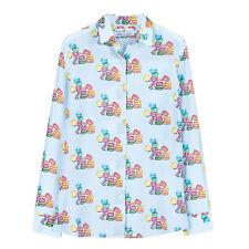 NWT 165USD DM size M blue printed silk shirt blouse Equipment fabric