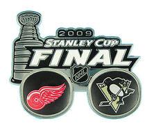 2009 NHL Stanley Cup Raised Glossy Dueling Log Pin - Red Wings vs Penguins