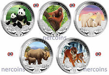 Wildlife in Need 2011-2012 Tuvalu $1x 5 Pure Silver 1 Oz Coins Full Set Perfect