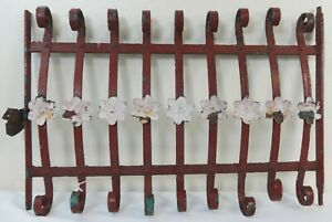 Antique Decorative Cast Wrought Iron Grate with Painted Floral Rosettes