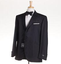 NWT $1975 CORNELIANI Black Wool-Silk One Button Peak Lapel Tuxedo 44 R Suit