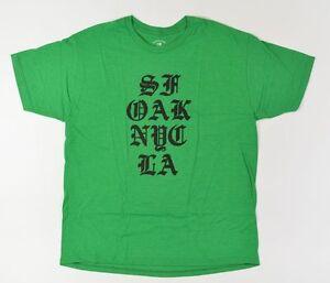 Fourstar Città Pila Uomo T-Shirt Taglia Large Erica KELLY Verde New