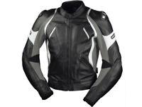 iXS Lederjacke Canopus | Schwarz-Grau-Weiß | Motorradjacke aus Rindsleder