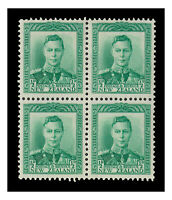New Zealand 1938 KGVI ½d Green SG603 Block of 4 Stamps MVLH/MUH 7-6