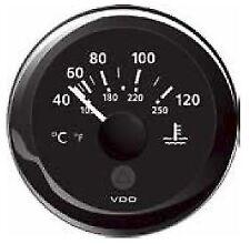 VDO Marine Viewline Black Water Temperature Gauge 12/24 volt 52mm