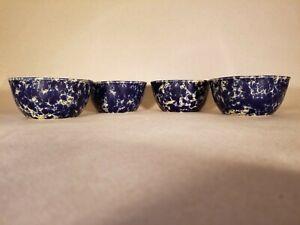 Vintage Bennington Blue Agate Pottery Cereal Bowls #2049 - Lot of 4
