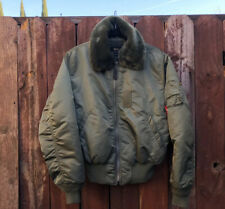 Alpha Industries B-15 Faux Fur Collar Bomber Jacket Army Green SMALL