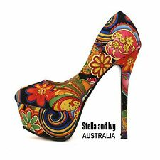 au womens high heels floral size 7 new