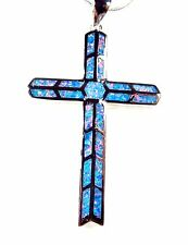 Sterling 925 Silver SF Pendant & Chain Rainbow Lab Opal Detailed LARGE CROSS 2""