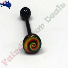 16 mm Black Acrylic Flexible Tongue bar with 7 mm Rasta Swirl Logo Dome Top