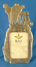"Pewter picture frame golf clubs picture size 2 1/4"" x 3 1/2"" Raj decor sport art"