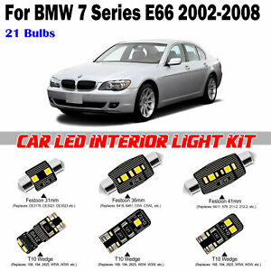 21pcs White Super Deluxe LED Interior Light Kit For BMW 7 Series E66 2002-2008