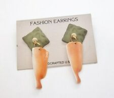 Dangle Pierced Earrings . #699 Hand Crafted Shell 2 1/4 in.