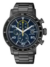 Citizen Eco-Drive Watch * Solar Chronograph Blue Dial Black Steel CA0645-82L