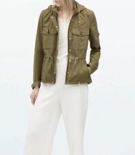 Zara Khaki Green Jacket With Hood Size Xs 6 8