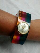 Vintage statement runway Neiman Marcus rainbow modernist lucite watch bracelet