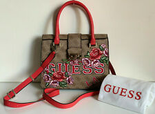 NEW! GUESS VIKKY COLLECTION RED FLORAL CONVERTIBLE SATCHEL CROSSBODY SLING BAG