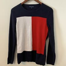 Tommy Hilfiger Colorblock Sweater Size L Pullover Long Sleeves 100% Cotton B4