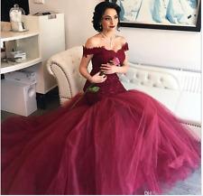 Fashion Elegant Burgundy V-Neck Mermaid Wedding Dresses custom size 6-16 18+